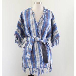 SEA New York Quilted Fringe Kimono Jacket NWT
